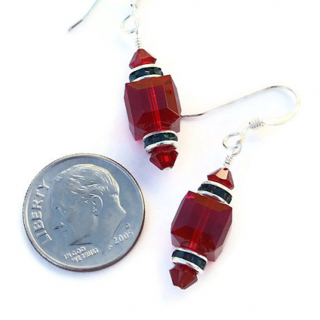 red and green holiday christmas earrings gift for her