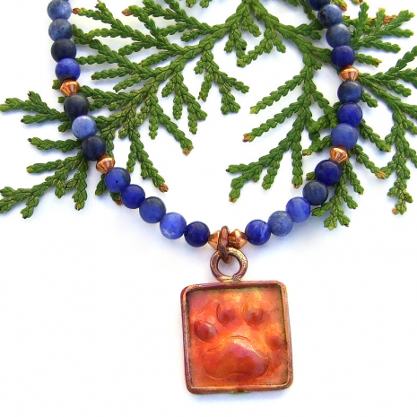 red copper dog paw print pendant jewelry with blue sodalite