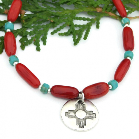sterling silver red coral and turquoise necklace