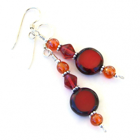 red czech glass dangle earrings with orange gift for her