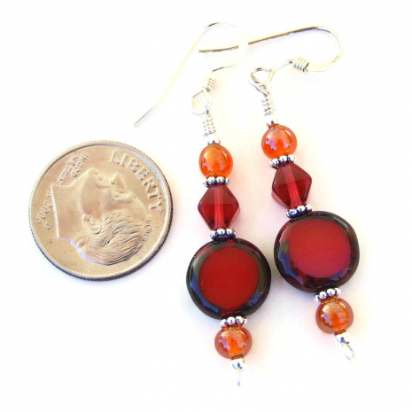red czech glass dangle jewelry with orange gift for her