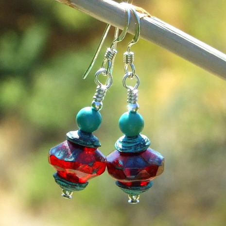 red czech glass handmade earrings with turquoise gift for women