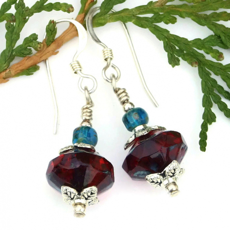 red Valentines earrings for women