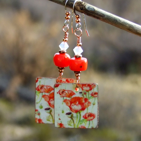 red poppies jewelry gift for women