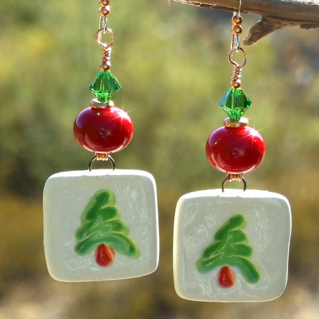 red green and white boho christmas tree earrings
