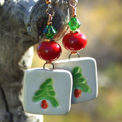 red green and white boho christmas tree jewelry