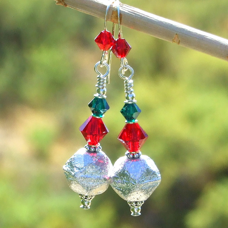 red green silver christmas holiday dangle earrings gift for women