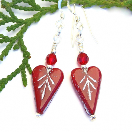red hearts and swarovski crystals valentines earrings gift for her
