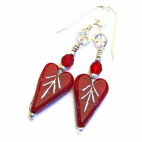red hearts valentines earrings gift for women