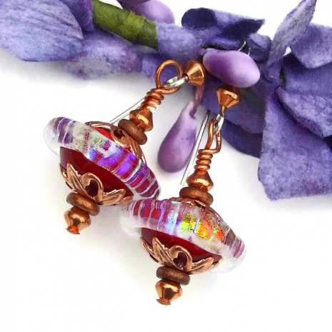 rainbow and red mothers day earrings gift for mom