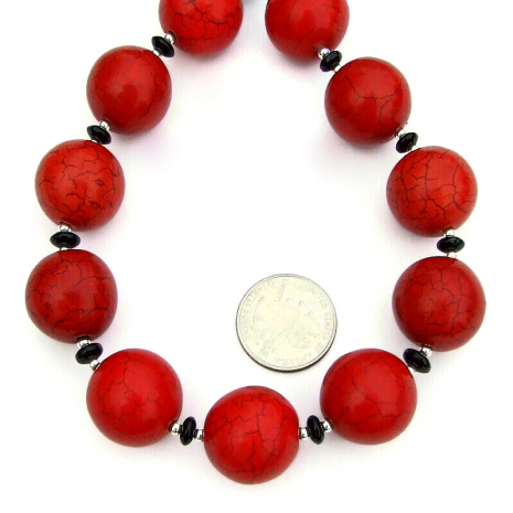 red magnesite chunky jewelry black onyx sterling silver