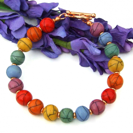 red orange yellow green blue purple acrylic copper bead bracelet