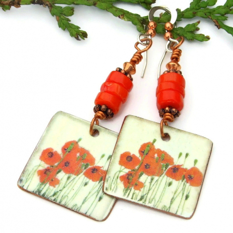 red poppies and red coral dangle earrings