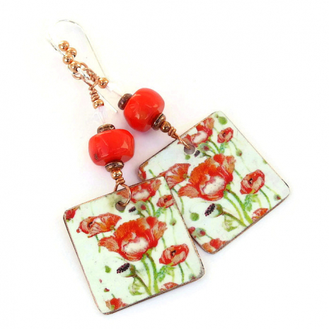 Valentines flower earrings for her