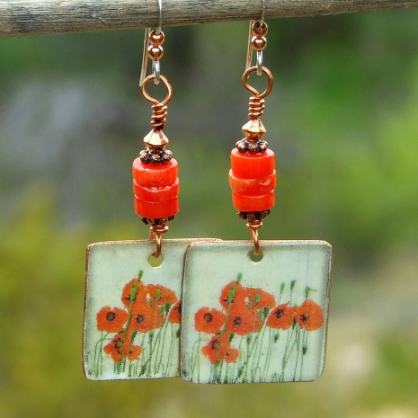 red poppies flower floral dangle earrings gift for women