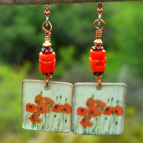 red poppies flower floral dangle jewelry gift for women