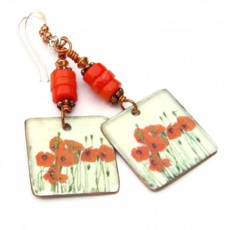 red poppies flowers handmade earrings gift for women