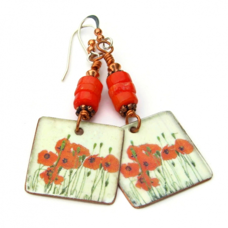 red poppies flowers handmade jewelry gift for women