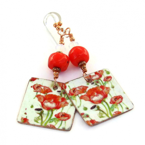 Valentines Day Mothers Day red poppies earrings unique jewelry gift