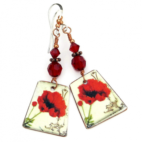 red poppies handmade earrings gift for women