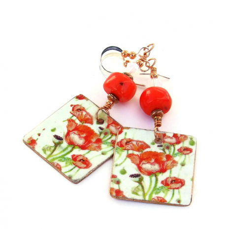 red poppies handmade earrings Valentines gift