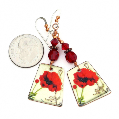 red poppy jewelry with red Swarovski crystals
