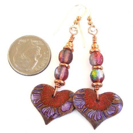 red purple copper heart earrings valentines day gift