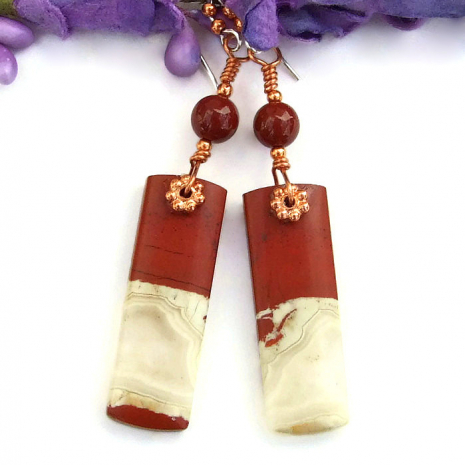 unique jasper gemstone earrings gift idea for women