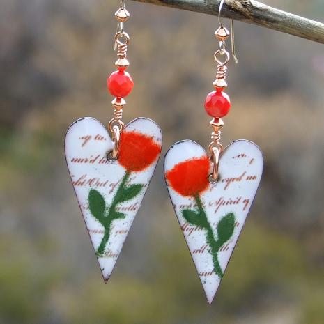 handmade valentines hearts and roses earrings gift for women