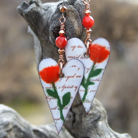 red roses and white hearts valentines jewelry