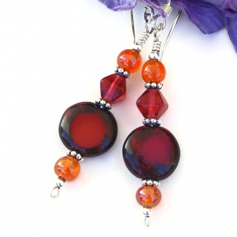 red with orange accents handmade glass dangle earrings