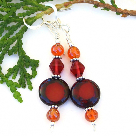 red with orange accents handmade glass dangle jewelry