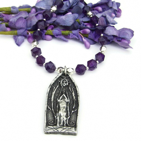 religious praying figure pendant necklace for women
