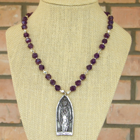 religious praying person necklace with amethyst gift for women