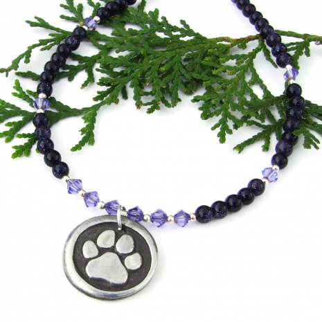 rescued dog paw print pendant jewelry with purple goldstone