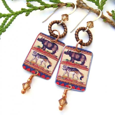 rhino jackal vintage tin earrings jewelry