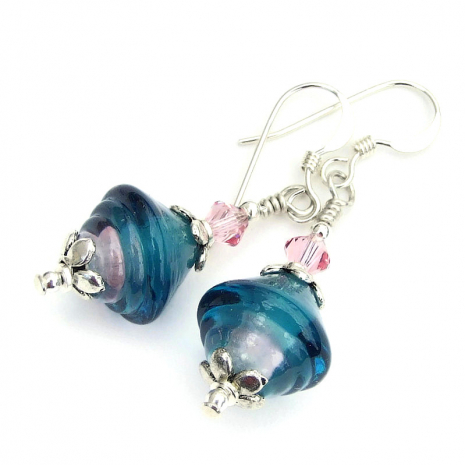 ribbed bicone teal and pink lampwork glass earrings with pink crystals