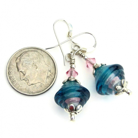ribbed bicone teal and pink lampwork glass jewelry with pink crystals