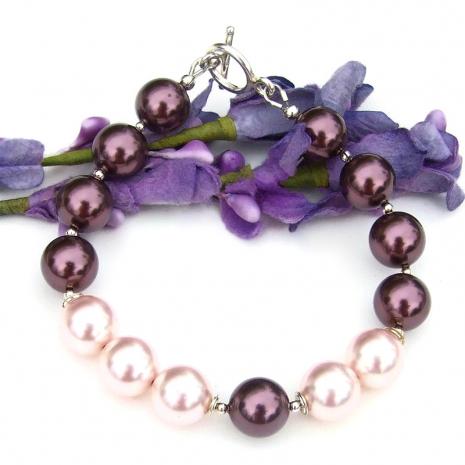rosaline pink and burgundy swarovski crystal pearl bracelet