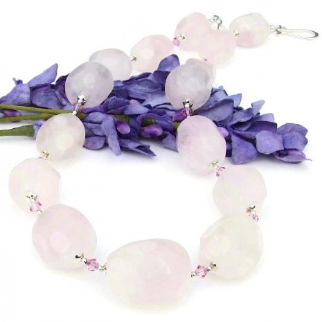 pink gemstone necklace with light rose Swarovski crystals