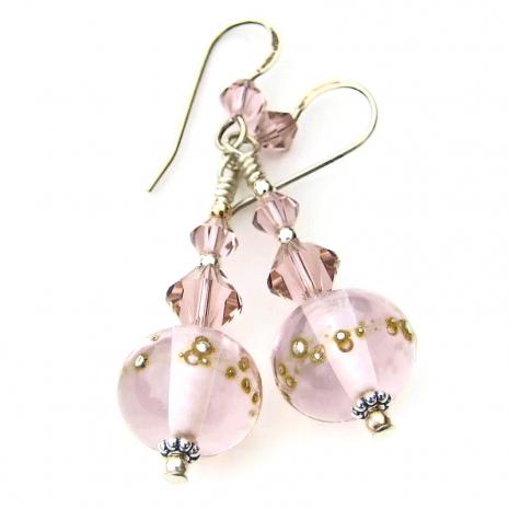 rose quartz pink lampwork glass earrings gift for her