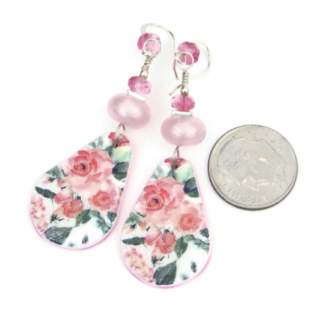 roses flower earrings pink lampwork