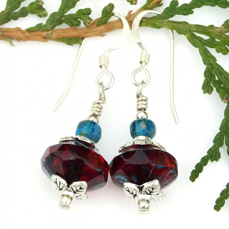 ruby red earrings Valentines Day gift