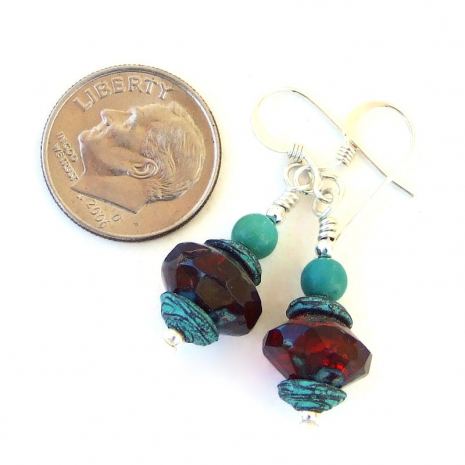 ruby red czech glass jewelry with turquoise sterling silver