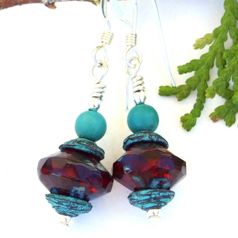 ruby red saturn glass handmade earrings with turquoise