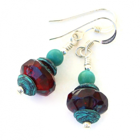 ruby red turquoise earrings gift for her