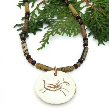 Ceramic petroglyph horse jewelry with Picasso jasper.