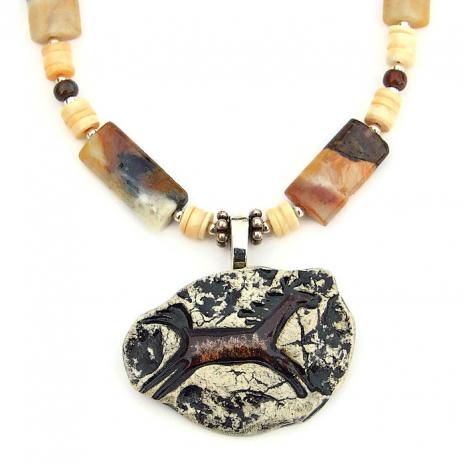 Women's Southwest style horse necklace