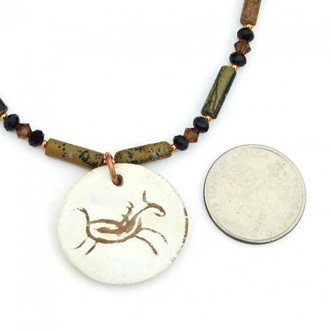Ceramic horse pendant necklace.
