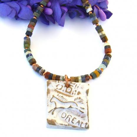 running horse dream pendant necklace mixed gemstone heishe